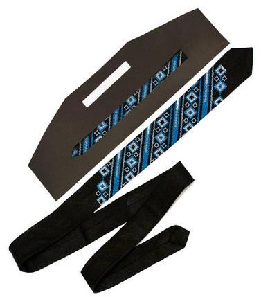 Узкий чёрный галстук из льна Геометрия, фото 2