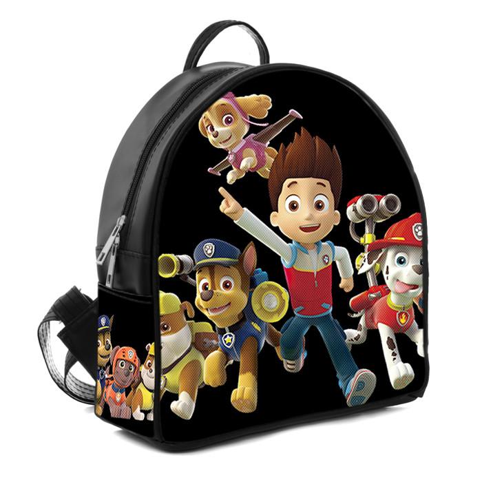 Черный детский рюкзак с принтом Щенячий патруль