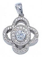 Кулон женский. Камень:белый циркон. Цвет металла: серебряный. Высота: 2,3 см. Ширина: 16 мм.