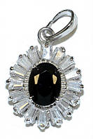 Кулон женский. Камень:белый и чёрный циркон. Цвет металла: серебряный. Высота: 2,5 см. Ширина: 15 мм.