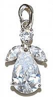 Кулон женский. Камень:белый циркон. Цвет металла: серебряный. Высота: 2,6 см. Ширина: 12 мм.