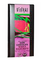 """Шоколад черный органический с цельным фундуком """"Vivani"""""""