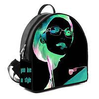 Городской женский черный рюкзак с принтом You live in style