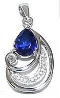 Кулон женский. Камень: синий и белый циркон. Цвет металла: серебряный. Высота: 3 см. Ширина: 15 мм.