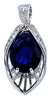 Кулон женский. Камень: синий и белый циркон. Цвет металла: серебряный. Высота: 3,7 см. Ширина: 16 мм.