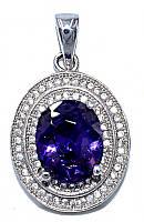Кулон женский. Камень: сиреневый и белый циркон. Цвет металла: серебряный. Высота: 2,8 см. Ширина: 16 мм.