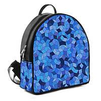 Городской женский черный рюкзак с принтом Синяя геометрия