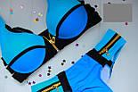 Женский стильный голубой раздельный купальник с молниями, фото 3
