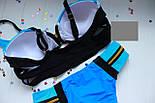 Женский стильный голубой раздельный купальник с молниями, фото 4