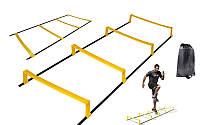 Координационная лестница дорожка с барьерами 4892-12: 12 перекладин, 4,3x0,5мх3,4мм