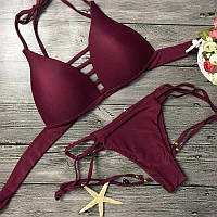 Женский стильный однотонный раздельный купальник (3 цвета)