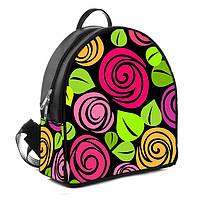 Городской женский черный рюкзак с принтом Цветы