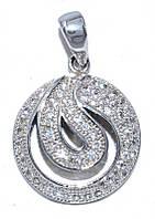 Кулон женский. Камень: белый циркон. Цвет металла: серебряный. Высота: 2,5 см. Ширина: 16 мм.