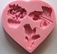 Молд сердце цветы 3шт, фото 1