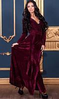 Бархатное длинное платье бордовое