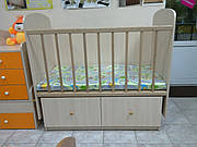 """Кроватка для новорожденных """"Кроха""""(есть маятник, без комода-пеленатора) Дуб молочный"""