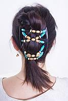 Экзотическая заколка для густых волос African butterfly Beada 005 черная