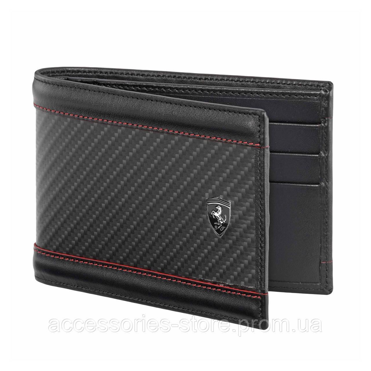 Горизонтальный бумажник Ferrari с карбоном, Horizontal carbon fibre wallet