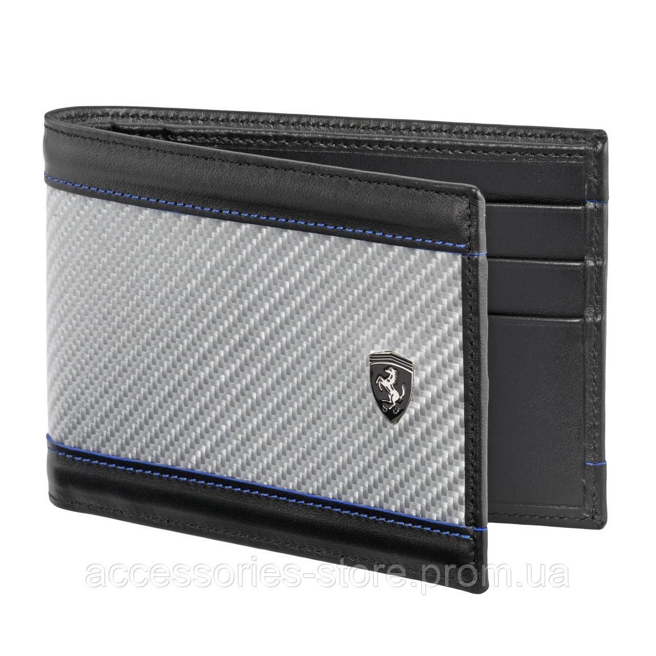 Горизонтальный бумажник Ferrari с деталями из стекловолокна, Horizontal glass fibre wallet, black/silver