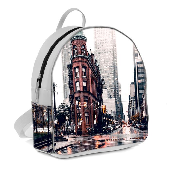 Белый женский рюкзак с принтом Мегаполис