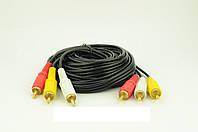 Аудио-кабель 3RCA 3м!Акция