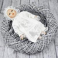 Крестильное платье с шапочкой р.62 (молочный)