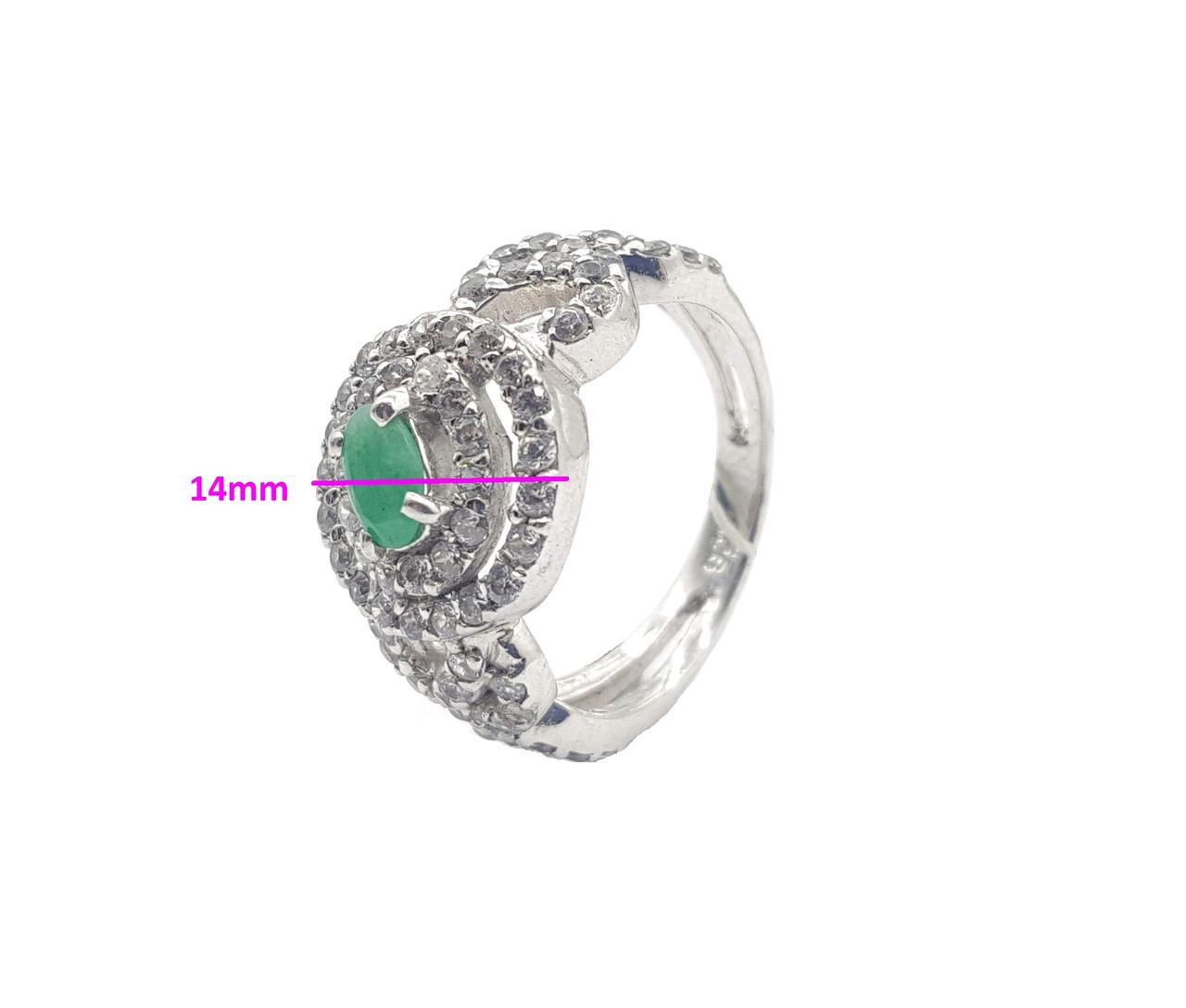Кольцо серебряное, Россыпь циркония с смарагдом по центре, р.17,5 (4,87 гр.)