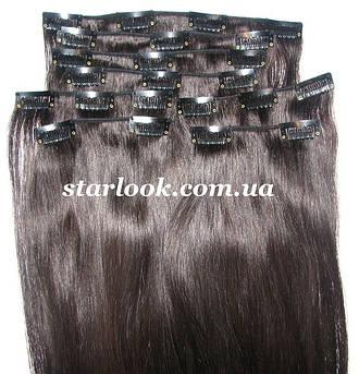 Набір натуральних волосся на кліпсах 60 см відтінок №1b 160 грам