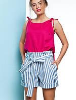 Женские льняные шорты в полоску с поясом-бантом Rodel (разные цвета)