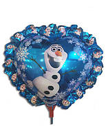 Воздушный фольгированный шар на палочке Снеговик Олаф.