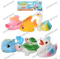 HU Пищалка 3001-6 P, набор из 6 игрушек, кораблик, лебедь, утка, черепаха, рыбка, дельфин, в кульке