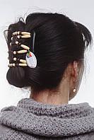 Заколка для волос African butterfly Dupla 001 коричневая на основе 2-х гребней коричневая