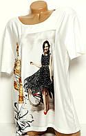 Блуза со стразами Турция батальная модель №С21