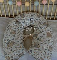 Подушка для вагітних 3 в 1 ,двостороння в кремових тонах 1257