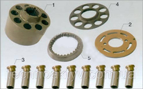 Гидравлический насос Sauer MPT(MFO)35 1. Поршневой блок - 1     2. Клапанная плита - 1     3. Поршень - 1     4. Стопорная планка - 1     5. Направляющая    - 9     6. Ведущий вал - 1     7. Шпилька - 3