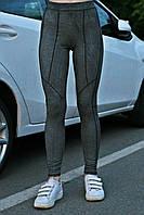 Женские спортивные лосины Quest wear серые с чёрным швом