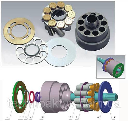 Гидравлический насос Sauer SPV15/18 1. Клапанная плита - 2             2. Захватное кольцо - 1                     3. Прокладка - 2                     4. Пружина - 1                     5. Поршень - 1                     6. Поршневой блок - 9                     7. Стопорная планка - 1                     8. Ведущий вал    - 1     9. Упорная плита - 1
