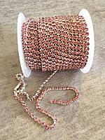 Стразовая цепочка с кристаллами SS12 - Rose/Silver