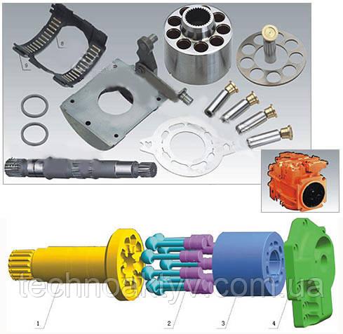 Гидравлический насос Sauer 90-030/042/055/075/100/130/180/250 1. Клапанная плита - 1                Клапанная плита - 1            Клапанная плита - 1             2. Поршневой блок - 1                     3. Поршень - 9                     4. Стопорная планка - 1                     5. Наклонная шайба - 4                     6. Ведущий вал (насос) - 1 7. Ведущий вал (двигатель) - 1 8. Подшипник - 2     9. Вкладыш - 2