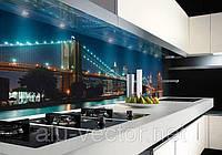 Рабочая стенка для кухни с фотопринтом Мост