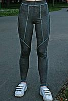 Женские спортивные лосины Quest wear серые с бирюзовым швом