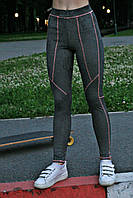 Женские спортивные лосины Quest wear серые с розовым швом