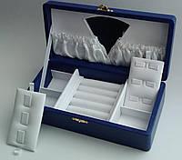 Шкатулка VIP mini для украшений синяя с зеркалом