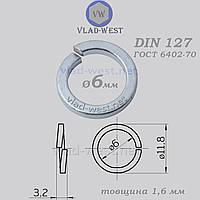 Шайба пружинная гровер Ø 6*11,8 мм DIN 127 оцинкованная