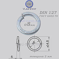 Шайба пружинна гровер Ø 8*14,8 мм DIN 127 оцинкована