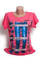 Яркая женская футболка с принтом свободного покроя р.46-48 H23-1