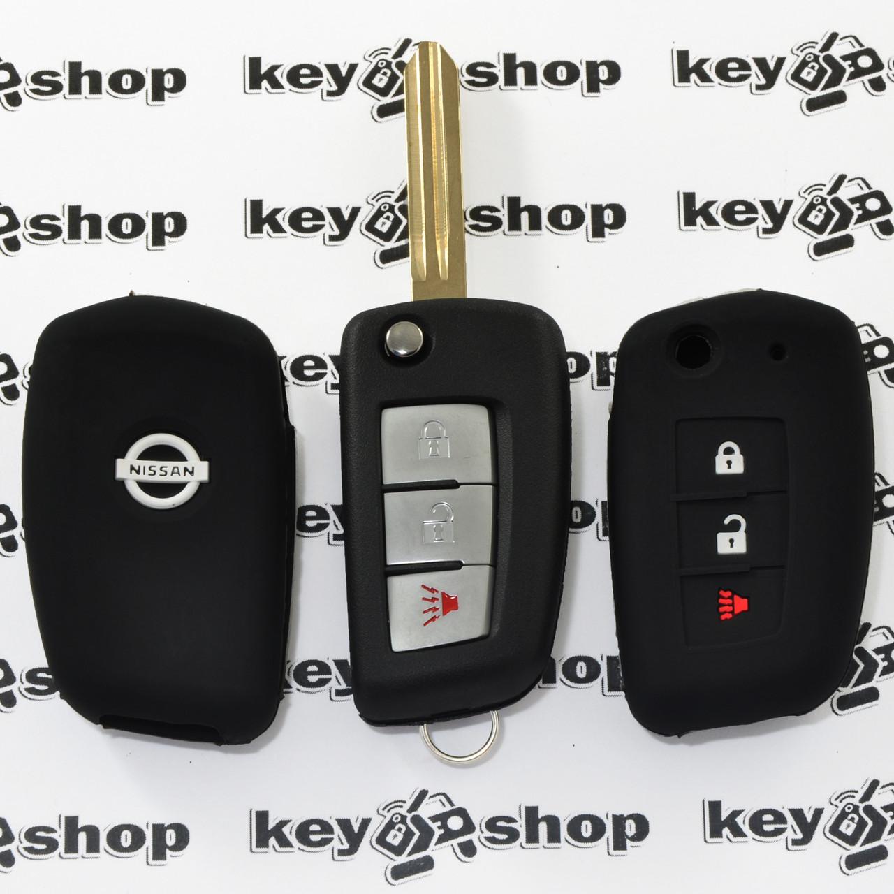 Чехол (черный, силиконовый) для выкидного ключа Nissan (Ниссан) 3 кнопки