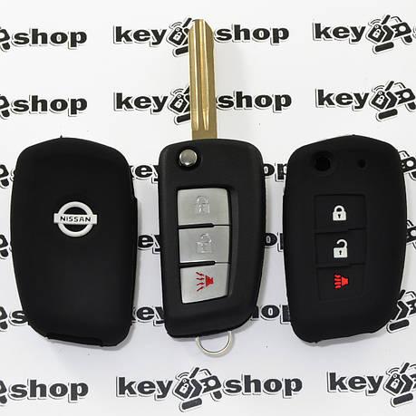 Чехол (черный, силиконовый) для выкидного ключа Nissan (Ниссан) 3 кнопки, фото 2