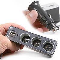 Разветвитель прикуривателя с 3-мя выходами + USB WF!Акция