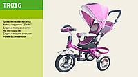 Велосипед трехколесный с фарой TR015, надувные колеса фиолетовый